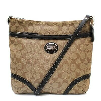 RARE NWT NEW Coach F18926 Signature Peyton file bag crossbody khaki mahogany