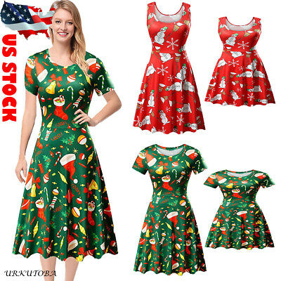 d55347cc63512 us xmas family matching women girl mother daughter christmas printed dress  set