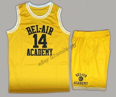 The Fresh Prince Of Bel Air Academy #14 Will Smith Basketball Set Shorts Yellow