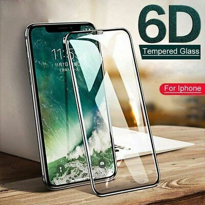 6D iPhone 11 Pro Max XR X S Tempered Glass Screen Protector Full Cover For Apple