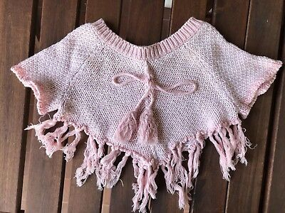 Bloom Love Boutique Baby Girl 6-12 Months Fringe Knitted Poncho Pink White
