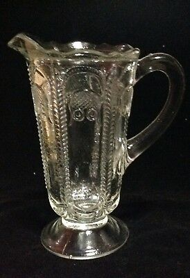 Vintage Depression Owl & Feather Glass Jug by Crown Crystal
