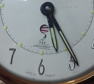 Antique vintage french alarm clock JAZ Crescendo 1940s 1950s working Time Piece
