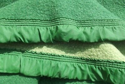 Vintage French Wool Blanket Picnic Throw bed Cover Green check 1930s