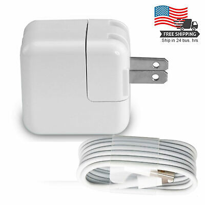 12W Power Adapter Wall Charger US Plug for Apple iPad 4 Air 1 2 iPhone & Cord