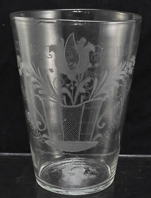 Large Engraved Tulip Free Blown Stiegel Type Flip Glass Early 19th Century