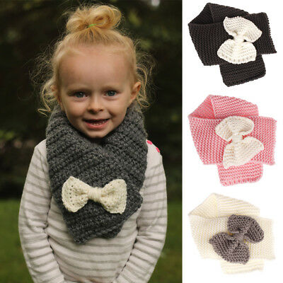 Kids Winter Warm Bowknot Thick Scarf Baby Girl Knitted Wool Neck Warmer New Hot