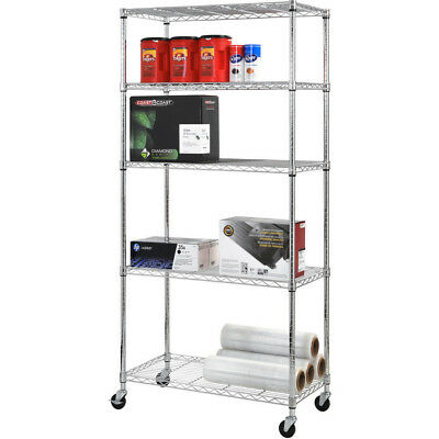 "Chrome 4-Wheeled Wire Commercial Shelving Storage Organizer Unit 36"" x 72"" x 18"""