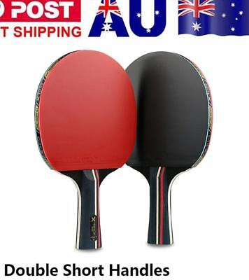 2X Table Tennis Racket Ping Pong Gaming Paddle Pro Practice Bat W/3 Ball+Bags AU