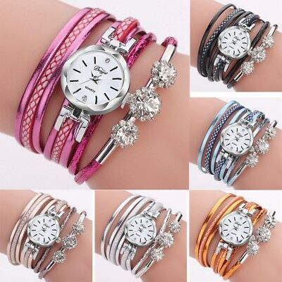 Women Crystal PU Leather Analog Quartz Bracelet Bangle Wrist Fashion Watch