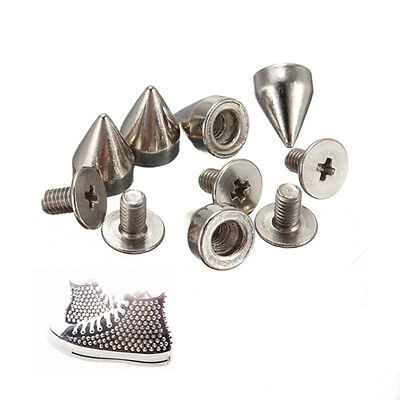 Silver Punk Spikes Nailhead Rivet Cone Studs for DIY shoes jacket Leather Craft