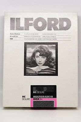 """Ilford Multigrade III RC Deluxe MGX.1M 6.5"""" x 8.5"""" Glossy Photographic Paper"""