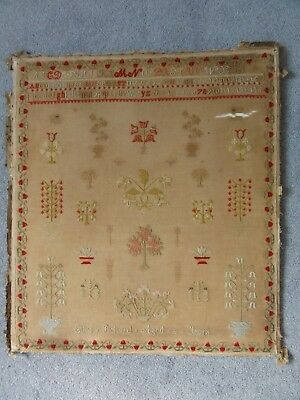 Antique 19Th Century Floral Cross Stitch Sampler By Eliza Pickard Aged 8 Years