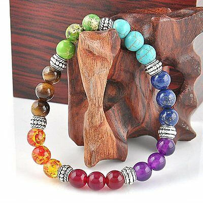 7 Chakra Healing Balance Bangle Lava Yoga Reiki Stones Prayer Beaded Bracelet