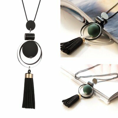 Women Long Tassel Pendant Necklace Wood Bead Charm Ladies Sweater Chain Jewelry