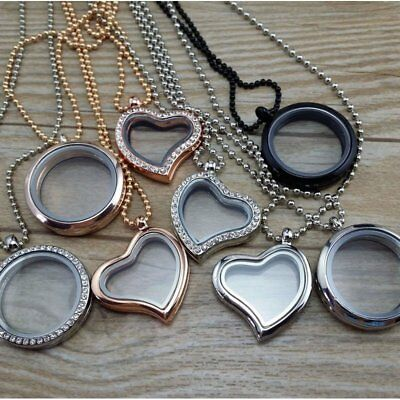 Living Memory Floating Charms Glass Round Locket Pendant Necklace Free Chain New