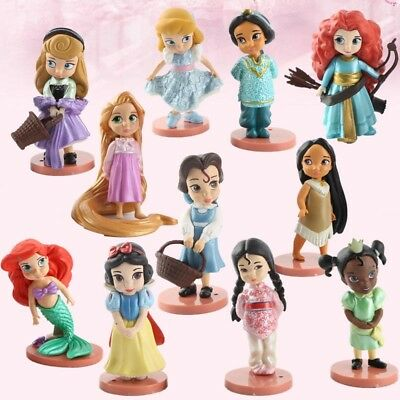 11PCS Disney Princess Mixed Cinderella Snow White Ariel Figures Toy Cake Topper
