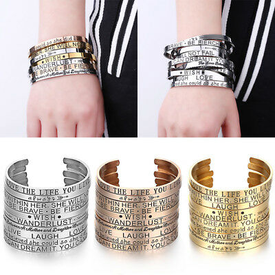 Stainless Steel Rose Gold Silver Letter Cuff Bangle Bracelet Gift Lady Jewellery