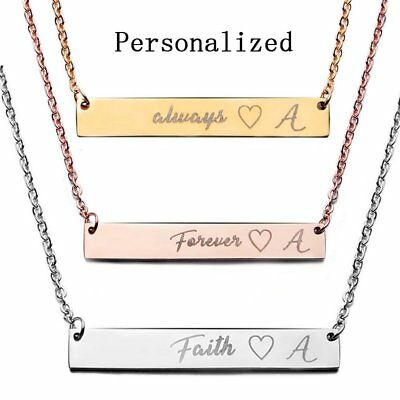 Stainless Steel Personalized Name Bar Necklace Custom Engraved Jewelry Gifts UK