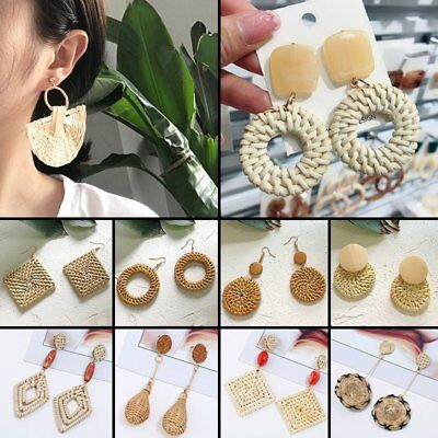 Women Boho Geometry Straw Rattan Woven Earrings Ear Stud Dangle Jewelry Gift NEW