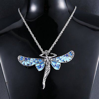 Fashion Retro Chain Dragonfly Angel Silver Crystal Pendant Necklace Jewellery