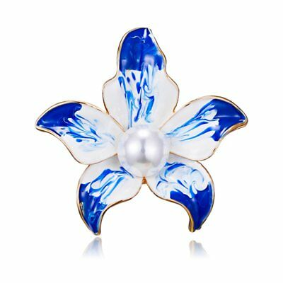 Pearl Enamel Lily Flower Brooches Pin Womens Party Wedding Banquet Brooches Gift
