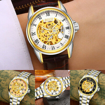 Men's Skeleton Dial Automatic Mechanical Watch Stainless Steel Band Wrist Watch