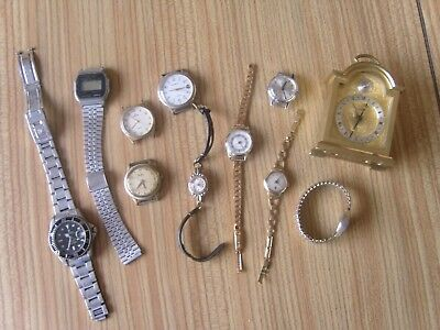 Large Job Lot Of Vintage Ladies & Gents Watches With Brass Carriage Clock