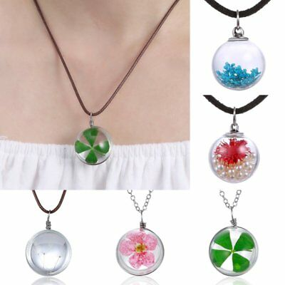 Real Dried Flowers Dandelion Seeds Glass Ball Four Leaf Clover Pendant Necklace