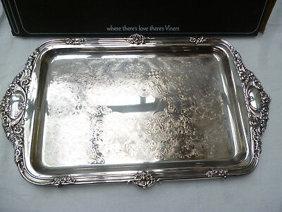 LARGE ORNATE SILVER PLATE SERVING TRAY by VINERS - 43cm long - excellent cond.