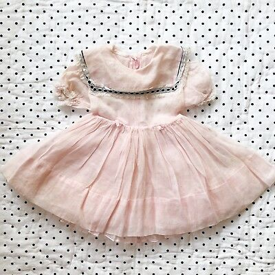 Vintage Sheer Pink Black Lace Little Girls Dress