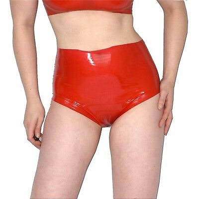 hoher LATEX SLIP * rote Panty Hotpants* Gr. S-M * rubber Gummi Latexslip ouvert