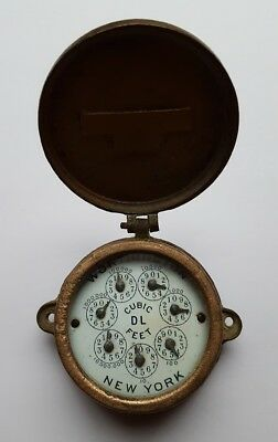 Vintage Brass Water Meter Worthington Turbine Meter Model H Enamel Dial NY