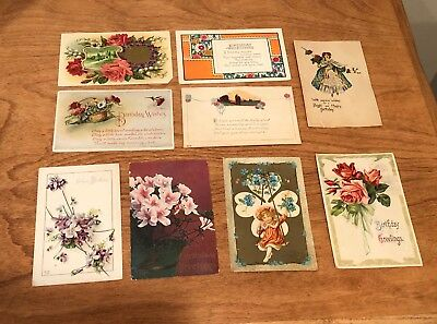 Lot of 9 Original Vintage/Antique Post Cards - Happy Birthday Greetings, Flowers