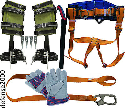 """NEW! Tree Climbing Spike Set, Safety Belt With Straps, Lanyard, 10"""" Pruning Saw"""