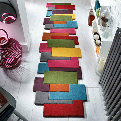 Flair Rugs Abstract Collage 100% Pure Wool Hand Carved Runner, Multi, 60x230 Cm