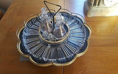 Vintage black & brass metal 2 tier turn table lazy susan and glass condiment set