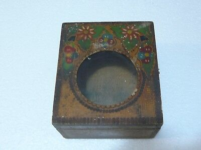 Rare Small Antique Primitive Old Hand Painted Wooden Dovetailed Clock Box