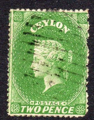 Ceylon 2 Pence Stamp c1861-64 Used (intermediate cut perf) (2)