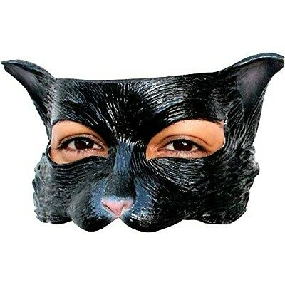 Black Kitty Cat Eyemask Latex Rubber Fancy Dress Adult Kids Halloween Eye Mask