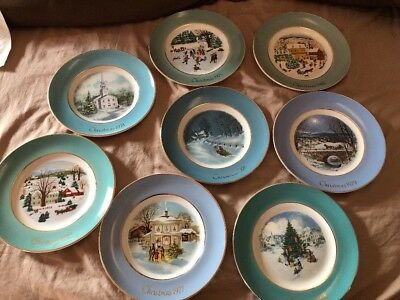 Vtg Set of 8 Enoch Wedgwood Collectible Christmas Plate Series Avon 1973-1980