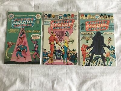 JUSTICE LEAGUE OF AMERICA - 3 x Issues 120, 121, 123 (1975) Average approx Fine