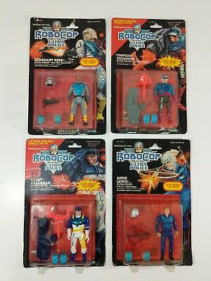 Lot of 4 Vintage ROBOCOP Ultra Police Figure Carded 1988 Kenner Brand New