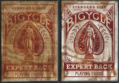 "2 DECKS Bicycle ""Expert"" Back playing cards RARE ERROR & CORRECTED VERSIONS!"