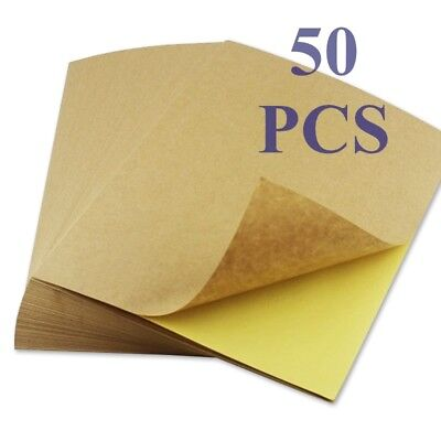 50 sheets A4 Brown Kraft Paper Sticker Self Adhesive Inkjet Laser Printing Label