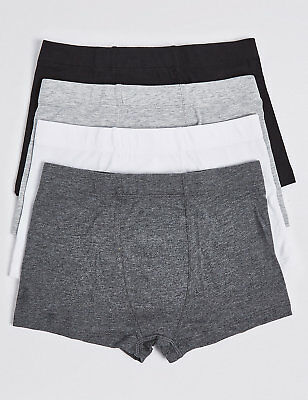 Ex Marks & Spencer Boys 4 Pack Cotton Trunks Boxer Shorts Stretch Ex M&S