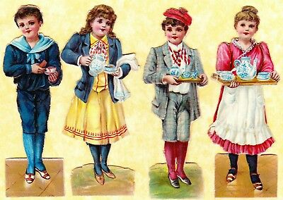 Victorian Scraps, Children With Tea Pots, Cups,  Approx 12 X 4 Cm