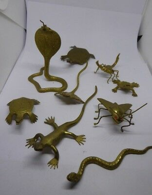 Job Lot of Indian Brass Animals - Snake Frog Lizard Turtle Stingray Cobra