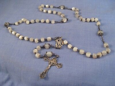 Vintage Antique Mother Of Pearl Religious Christian Rosary Beads Crucifix Cross