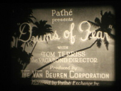 16Mm B/w 1930's Pathe Drums Of Fear Tom Terriss Intense Sound Travel Film